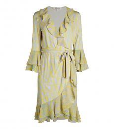 Diane Von Furstenberg Multi color Carli Printed Ruffle Wrap Dress