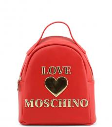 Love Moschino Red Padded Heart Small Backpack