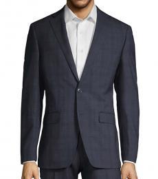 Calvin Klein Navy Blue Slim Fit Plaid Wool Suit