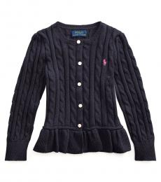 Ralph Lauren Little Girls Navy Cable Peplum Cardigan