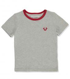 True Religion Little Boys Grey Contrast Neck T-Shirt