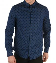 Armani Jeans Dark Blue Denim Argyle-Print Shirt