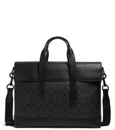 Coach Black/Oxblood Hamilton Portfolio Large Briefcase Bag