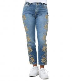 Light Blue Billie Embroidered High Rise Ankle Jean