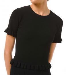 Michael Kors Black Ribbed Ruffle Trim Sweater