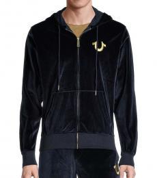 Navy Blue Velour Hoodie Jacket