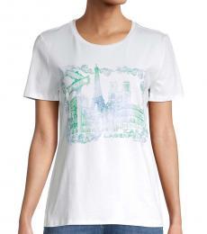 Karl Lagerfeld White Logo Watercolor Scene T-Shirt