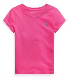 Ralph Lauren Little Girls Accent Pink Jersey T-Shirts