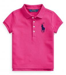 Ralph Lauren Little Girls Accent Pink Stretch Mesh Polo