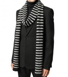 Saint Laurent Black-White Striped Scarf