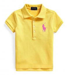 Ralph Lauren Little Girls University Yellow Stretch Mesh Polo