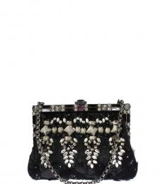 Dolce & Gabbana Black Crystal Medium Shoulder Bag