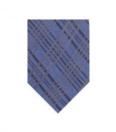 Calvin Klein Indigo Platinum Plaid Slim Tie