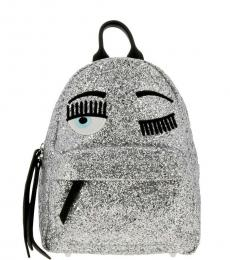Silver Glitter Medium Backpack
