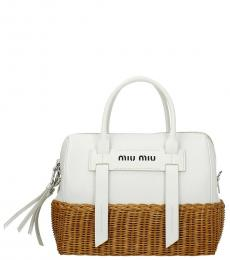 Miu Miu White Straw Small Satchel