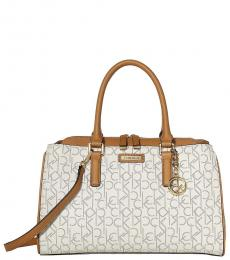 Almond/Khaki Signature Large Satchel