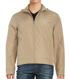 Michael Kors Beige Convertible Zip-Front Jacket