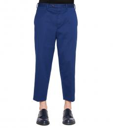 Blue Solid Crop Pants