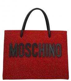 Moschino Red Glitter Medium Tote