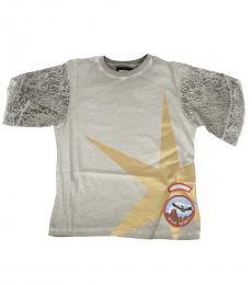 Little Girls Grey Lace T-Shirt