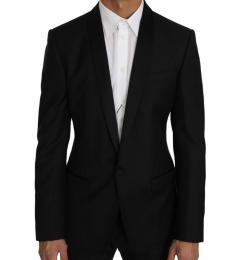 Black Wool Silk Gold Blazer