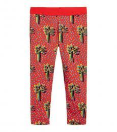 Stella McCartney Girls Red Palm Tree Print Leggings
