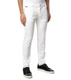 Dolce & Gabbana White Cotton Straight-Leg Trousers