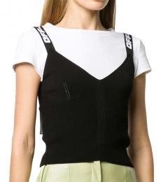 Black Jacquard Logo Knitted Top
