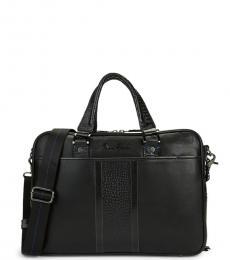 Black Keaton Embossed Large Briefcase Bag