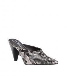 Black White Snake Print Iyanna Heels