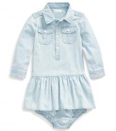 Ralph Lauren Baby Girls Faded Indigo Chambray Shirtdress