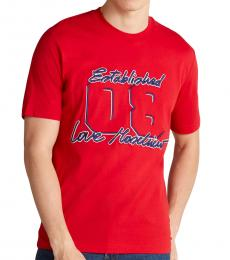 Red Embroidered Logo T-Shirt