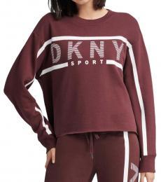 DKNY Maroon Stripe Logo Sweatshirt