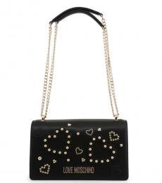 Love Moschino Black Studded Heart Medium Shoulder Bag