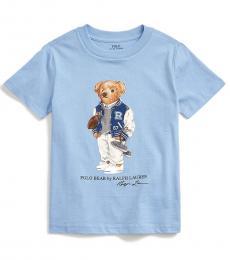 Ralph Lauren Little Boys Blue Lagoon Football Bear T-Shirt