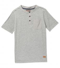 7 For All Mankind Boys Heather Grey Short Sleeve Henley T-Shirt