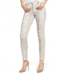 Beige Prima Printed Skinny Jeans