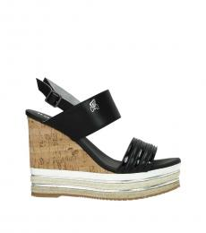 Hogan Black Open Toe Wedges