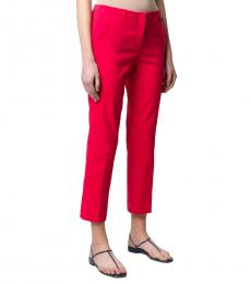 Red Low-Waist Straight Trousers
