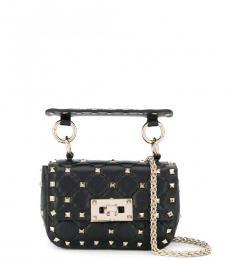 Valentino Garavani Black Rockstud Spike Mini Shoulder Bag
