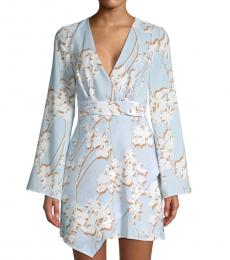 Sky Blue Floral Faux Wrap Dress