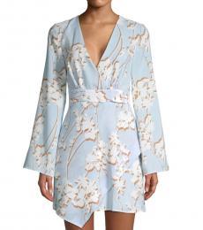 BCBGMaxazria Sky Blue Floral Faux Wrap Dress