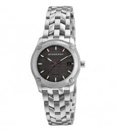 Silver Black Dial Modish Watch