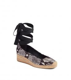Tory Burch Snake Print Ankle Wrap Wedges