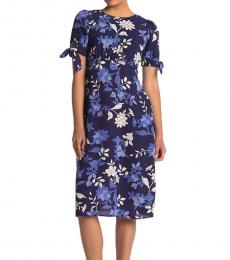 Vince Camuto Navy Blue Petite Puff Sleeve Floral Print Dress