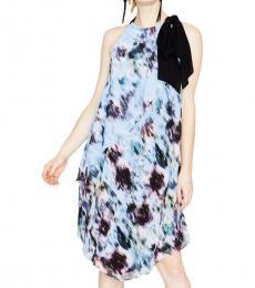 Multi color Chiffon Halter Party Midi Dress
