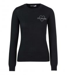 Love Moschino Black Rhinestone Logo Pullover