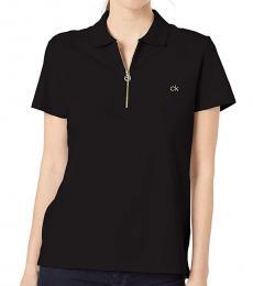 Calvin Klein Black Zip-Front Polo Tee