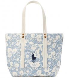 Ralph Lauren Blue/White Floral Large Tote
