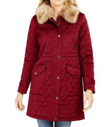 Michael Kors Red Hooded Faux-Fur-Trim Quilted Coat